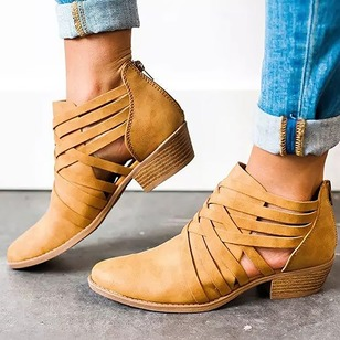 Zipper Closed Toe Chunky Heel Shoes