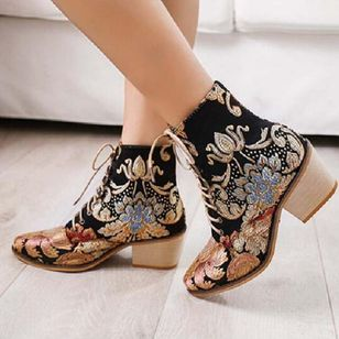 Women's Embroidery Lace-up Ankle Boots Silk Like Satin Chunky Heel Boots (108858691)