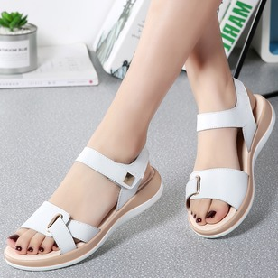 Sandals Leatherette Flat Heel Shoes