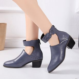 Hollow-out Ankle Boots Chunky Heel Shoes