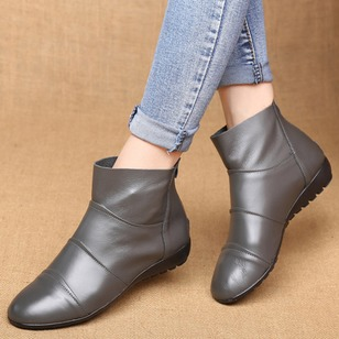 Zipper Ankle Boots Real Leather Flat Heel Shoes
