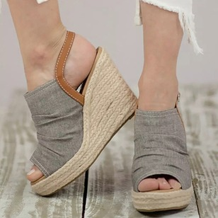 Sandals Cloth Wedge Heel Shoes