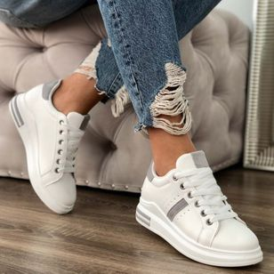 Women's Lace-up Low Top Flat Heel Sneakers (4458518)