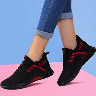 Women's Lace-up Closed Toe Fabric Wedge Heel Sneakers (147046005)
