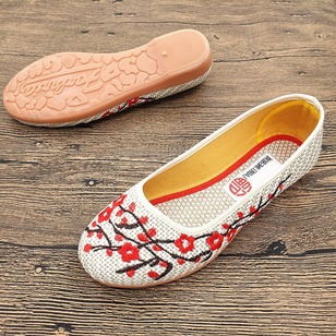Embroidery Closed Toe Cotton Low Heel Shoes