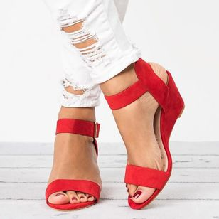 Women's Buckle Slingbacks Wedge Heel Sandals (1527624)