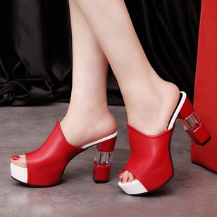 Peep Toe Heels Leatherette Chunky Heel Shoes