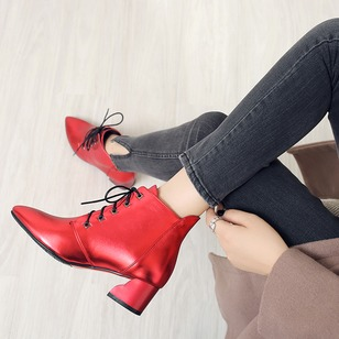 Lace-up Ankle Boots Leatherette Chunky Heel Shoes