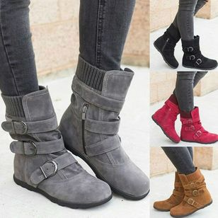 Buckle Zipper Mid-Calf Boots Flat Heel Shoes