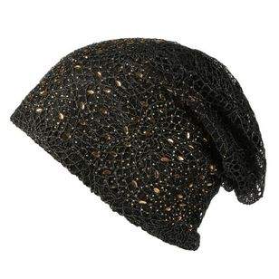 Casual Beading Rhinestones Hollow Out Solid Hats