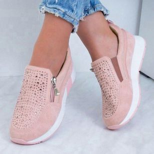 Women's Beading Zipper Round Toe Flat Heel Sneakers (1440433)