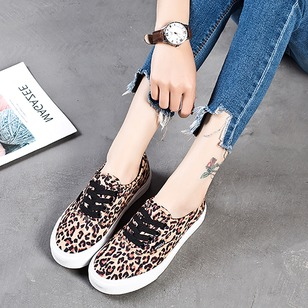 Lace-up Closed Toe Canvas Flat Heel Shoes