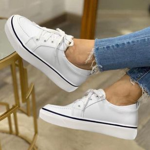 Women's Lace-up Round Toe Flat Heel Sneakers (1522353)