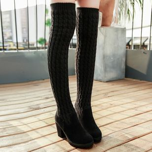 Split Joint Over The Knee Boots Chunky Heel Shoes