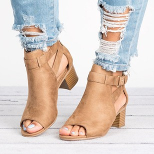 Buckle Zipper Peep Toe Chunky Heel Shoes