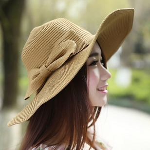 Elegant Straw Bow Others Solid Hats