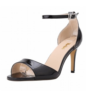 Peep Toe Heels Patent Leather Stiletto Heel Shoes