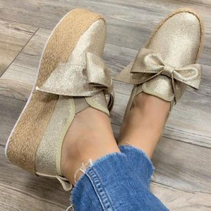 Women's Bowknot Closed Toe Cloth Flat Heel Platforms (4074154)