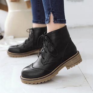 Women's Lace-up Ankle Boots Low Heel Boots (1385321)