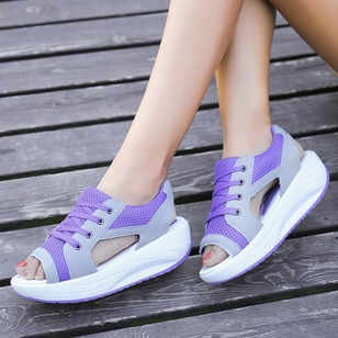Lace-up Wedges Fabric Low Heel Shoes