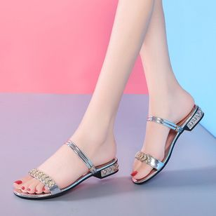 Women's Rhinestone Heels Low Heel Sandals (1513091)