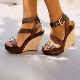 Buckle High Top Wedge Heel Shoes