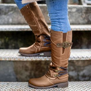 Women's Buckle Zipper Mid-Calf Boots Closed Toe Round Toe Low Heel Boots (107151886)