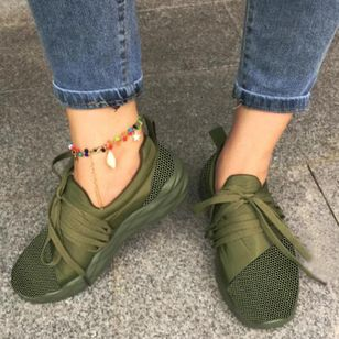 Women's Lace-up Closed Toe Cloth Wedge Heel Sneakers (106153620)