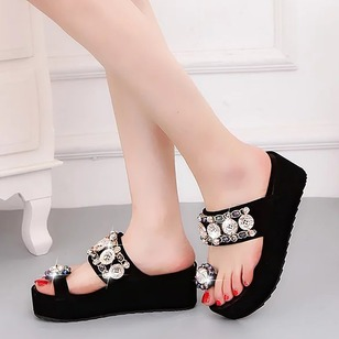 Rhinestone Wedges PU Wedge Heel Shoes