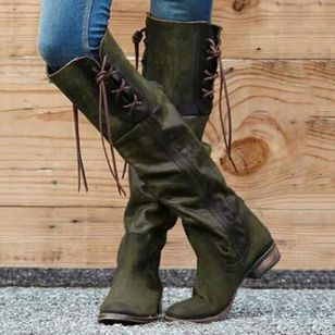 Lace-up Knee High Boots Low Heel Shoes
