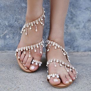 Pearl Tassel Toe Ring Flat Heel Shoes