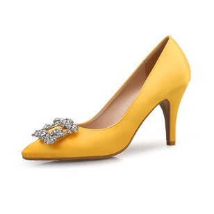 Rhinestone Closed Toe Heels Silk Like Satin Stiletto Heel Shoes