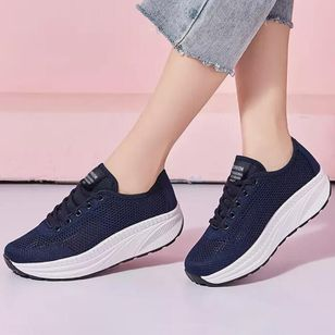 Women's Lace-up Hollow-out Closed Toe Cotton Wedge Heel Sneakers (5053257)