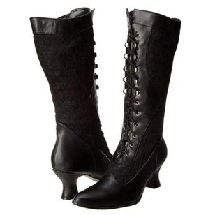 Women's Lace-up Mid-Calf Boots Lace Spool Heel Boots (111608480)