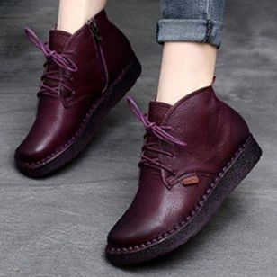Women's Lace-up Ankle Boots Round Toe Flat Heel Boots (146663500)