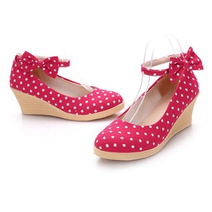 Bowknot Closed Toe Canvas Wedge Heel Shoes