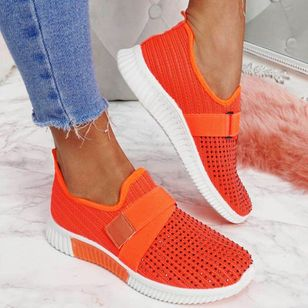 Women's Low Top Fabric Flat Heel Sneakers (101399049)