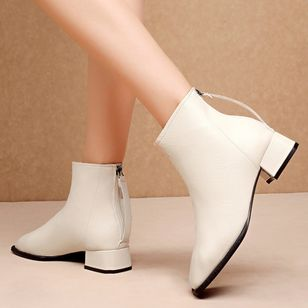 Women's Zipper Ankle Boots Closed Toe Chunky Heel Boots (109974497)