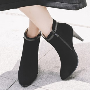 Zipper Ankle Boots PU Stiletto Heel Shoes