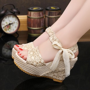 Bowknot Wedges Heels Fabric Wedge Heel Shoes