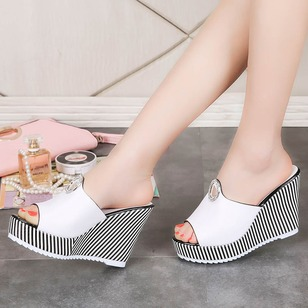 Women's Wedges Slippers Wedge Heel Leatherette Shoes