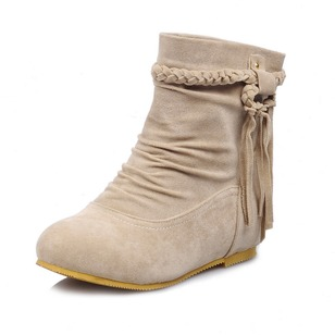 Zipper Ankle Boots Suede Low Heel Shoes