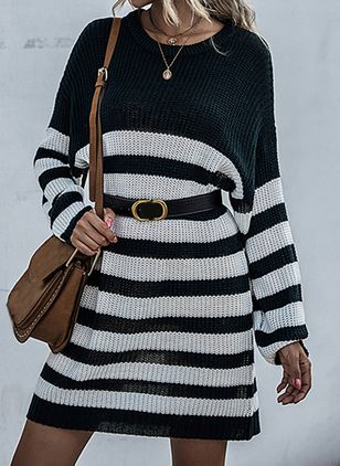 Casual Stripe Tunic Round Neckline Shift Dress (109973822)