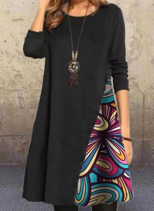 Casual Color Block Tunic Round Neckline A-line Dress (108858273)