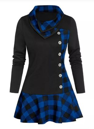 Elegant Plaid Skater High Neckline X-line Dress (107563386)