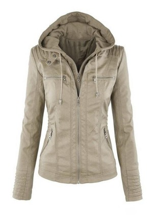 PU Long Sleeve Hooded Zipper Pockets Jackets