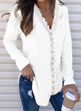 V-Neckline Solid Elegant Loose Long Buttons Sweaters (146901029)
