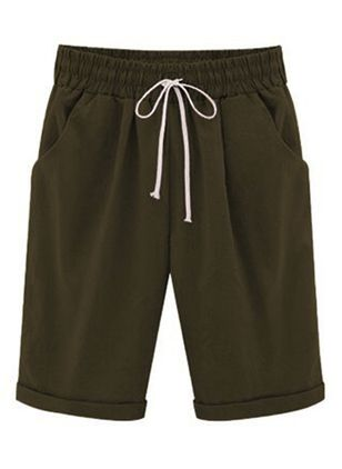 Casual Straight Pockets High Waist Polyester Pants Shorts (147019648)