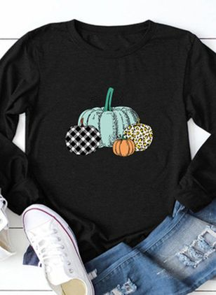 Color Block Round Neck Long Sleeve Halloween T-shirts (109555684)
