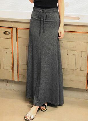 Solid Maxi Casual Skirts (1507377)